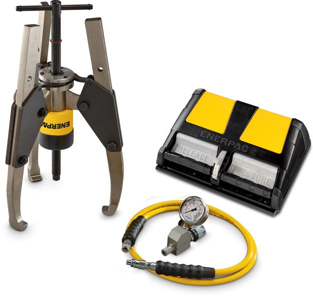 GPS36A, 36 Ton, Hydraulic Sync Grip Puller Set with Air Pump | Enerpac
